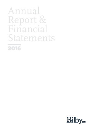 Bilby Plc annual report 2016