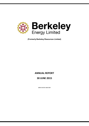 Berkeley Energy annual report 2015