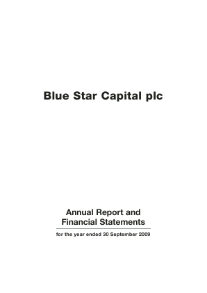 Blue Star Capital Plc annual report 2009