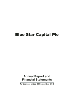Blue Star Capital Plc annual report 2016