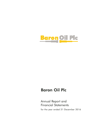 Baron Oil Plc annual report 2016