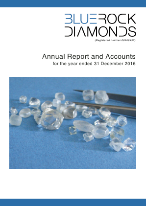 Bluerock Diamonds Plc annual report 2016