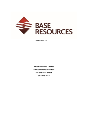 Base Resources Ltd annual report 2016