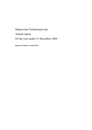Touchstar (previously Belgravium Technologies) annual report 2004