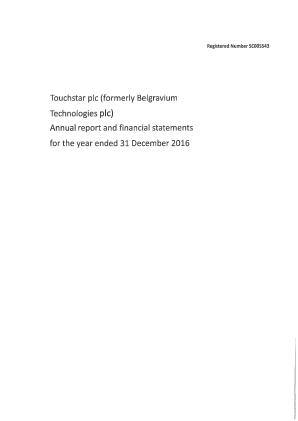 Touchstar (previously Belgravium Technologies) annual report 2016