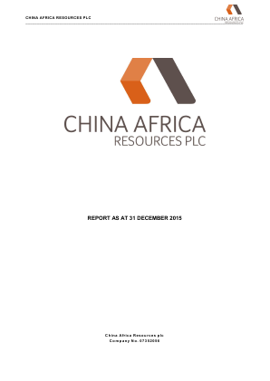 Pembridge Resources (previously China Africa Resources) annual report 2015