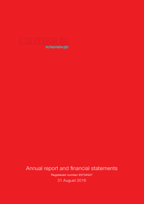 Cambria Automobiles Plc annual report 2016