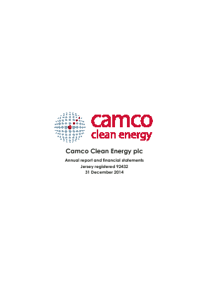 redT Energy Plc (formally Camco Clean Energy) annual report 2014