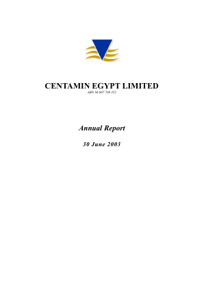 Centamin Plc annual report 2003