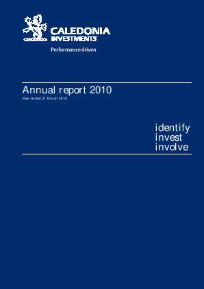Caledonia Investments annual report 2010