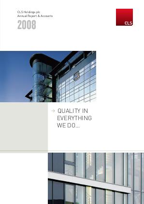 CLS Holdings annual report 2008