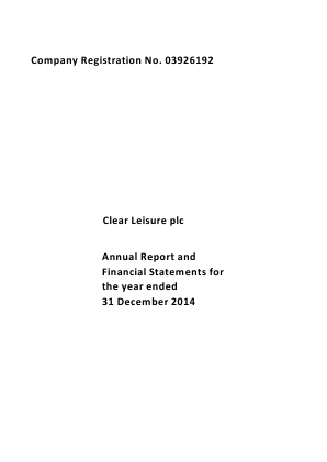 Clear Leisure Plc annual report 2014