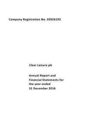 Clear Leisure Plc annual report 2016
