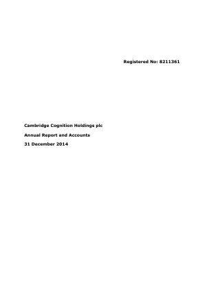 Cambridge Cognition Holdings Plc annual report 2014