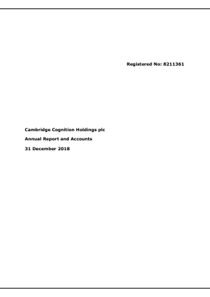 Cambridge Cognition Holdings Plc annual report 2018