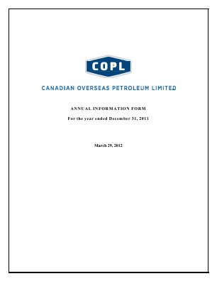 Canadian Overseas Petroleum annual report 2011