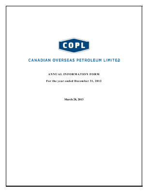 Canadian Overseas Petroleum annual report 2012