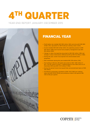 Corem Property Group annual report 2015