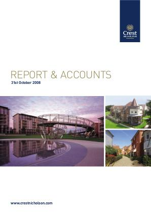 Crest Nicholson Holdings Plc annual report 2008