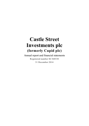 IDE Group (Previously Coretx Holdings) (Formally Castle Street Investments) annual report 2014