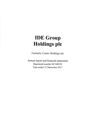 IDE Group (Previously Coretx Holdings) (Formally Castle Street Investments) annual report 2017