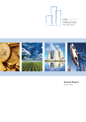 City Natural Resources High Yield Trust annual report 2016
