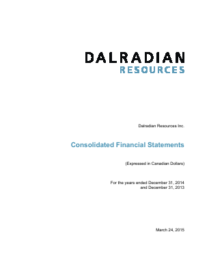 Dalradian Resources Inc annual report 2014