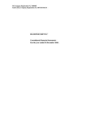 Diamondcorp Plc annual report 2010