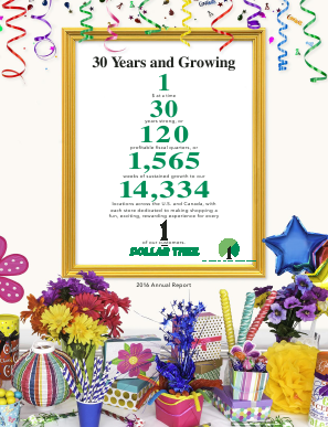 Dollar Tree Inc. annual report 2016