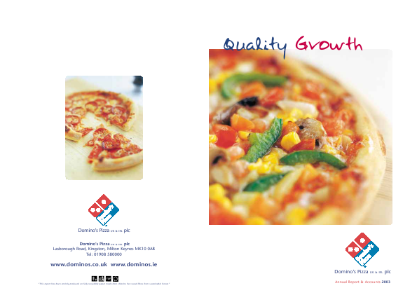Dominos Pizza Group Plc annual report 2003
