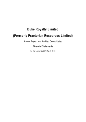 Duke Royalty annual report 2016