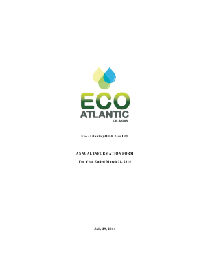 Eco (Atlantic) Oil and Gas annual report 2014