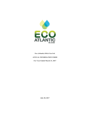 Eco (Atlantic) Oil and Gas annual report 2017