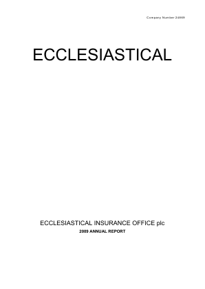 Ecclesiastical Insurance Office annual report 2009