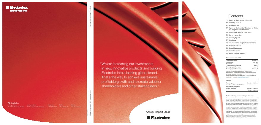 Electrolux annual report 2003