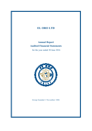 El Oro annual report 2016
