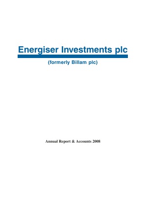 Energiser Investments Plc annual report 2008