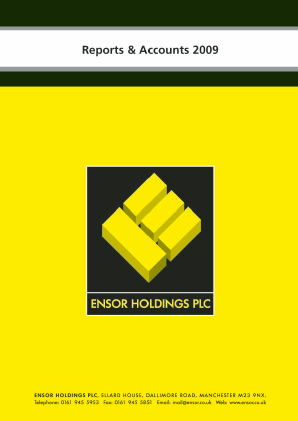 Ensor Holdings annual report 2009