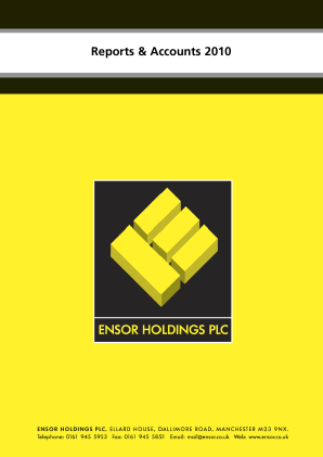 Ensor Holdings annual report 2010