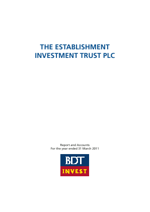 Establishment Investment Trust Plc annual report 2011
