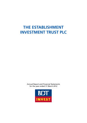 Establishment Investment Trust Plc annual report 2012