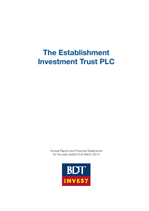 Establishment Investment Trust Plc annual report 2013