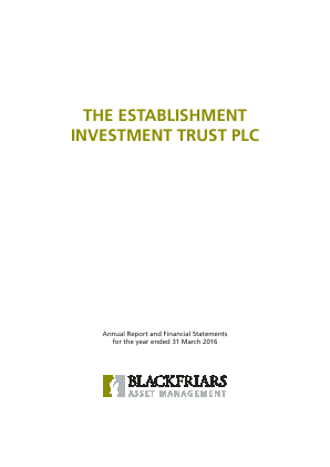Establishment Investment Trust Plc annual report 2016