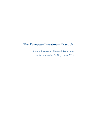 European Investment Trust Plc(The) annual report 2012