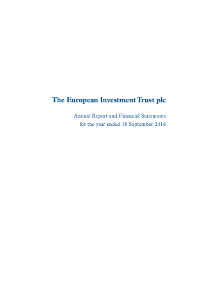 European Investment Trust Plc(The) annual report 2016
