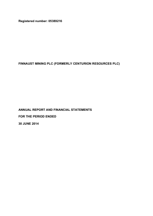 Bluejay Mining (Previously Finnaust Mining) annual report 2014