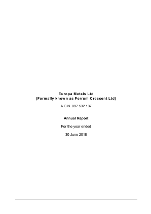 Europa Metals (previously Ferrum Crescent) annual report 2018