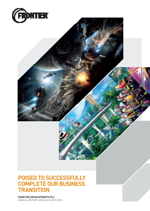Frontier Developments Plc annual report 2016