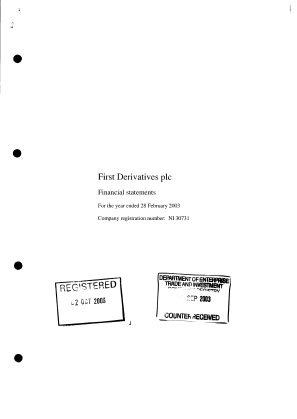 First Derivatives Plc annual report 2003