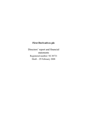 First Derivatives Plc annual report 2008